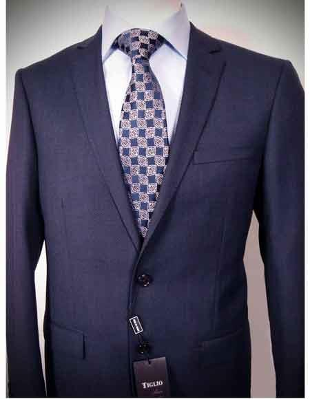 Product# JSM-1169 Men's 2 Button 100% Italian Wool Authentic Tiglio Brand Blue Nailhead Notch Lapel Slim Fit Suit