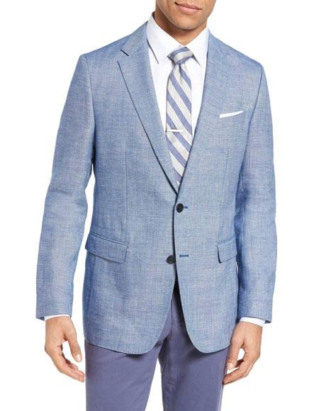 Men's Sportcoat Two Buttons Single Breasted Wool & Men's 2 Piece Linen Causal / Beach Wedding Attire For Groom Outfits Bright Blue Slim Fit Blazer