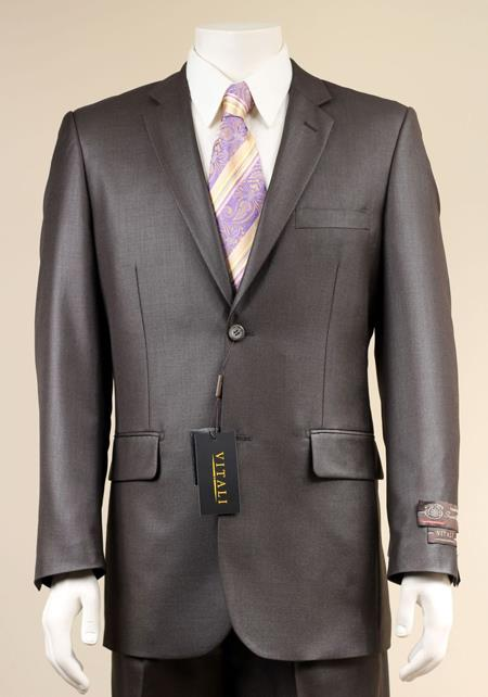 AC-681 Two Button Suit New Edition Shiny Sharkskin Dark brown color shade