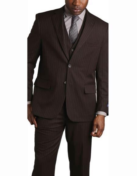 Men's 2 Button Vested Banker Pinstripe ~ Stripe Notch Lapel 3 Piece Brown Suit