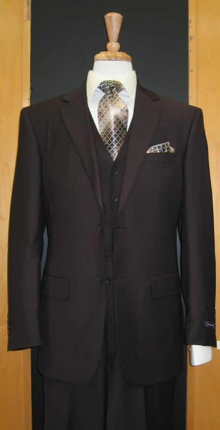 Two Button Three Piece brown color shade Flat Front three piece suit