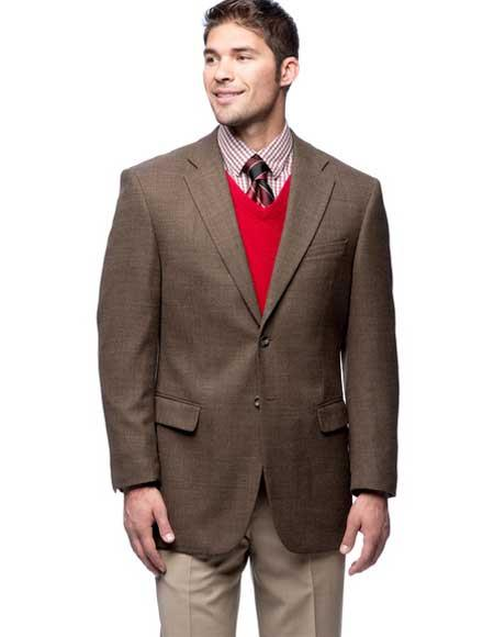 Men's 2 Button Brown Single Breasted Blazer Wool Notch Lapel