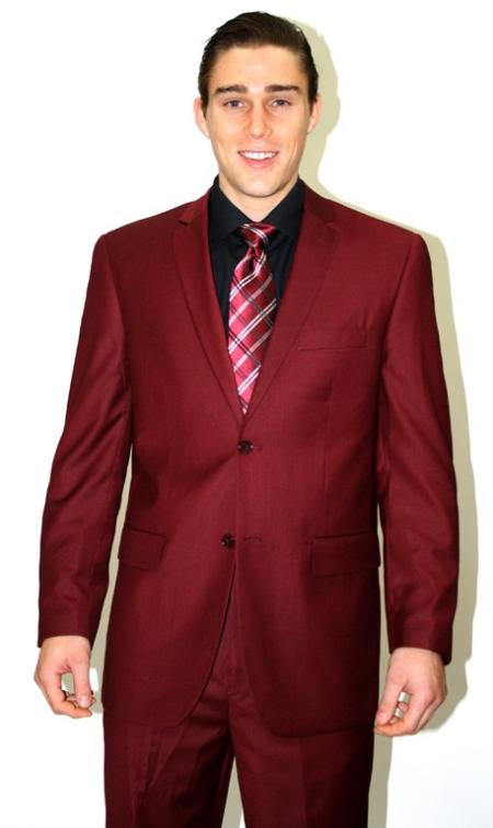 2 piece affordable suit Online Sale Burgundy Maroon Wine