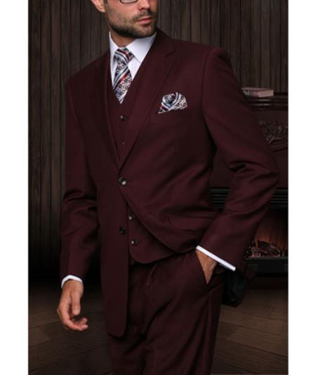 Mens Maroon High Fashion Single Breasted Bold Pronounce White