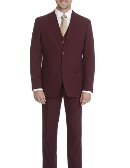 Product# GD1356 Caravelli Men's Single Breasted Burgundy Slim Fit 2 Button Vested Suit