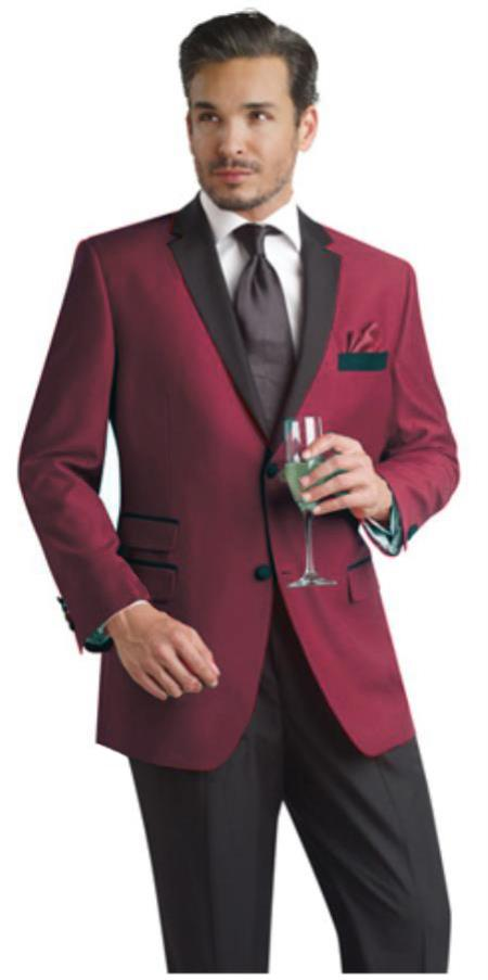 Product# Bur44 Burgundy ~ Maroon ~ Wine Color Two Button Notch Party Suit & Tuxedo & Blazer Online Sale Suit W/ Liquid Jet Black Lapel + Free Pants Dinner Jacket