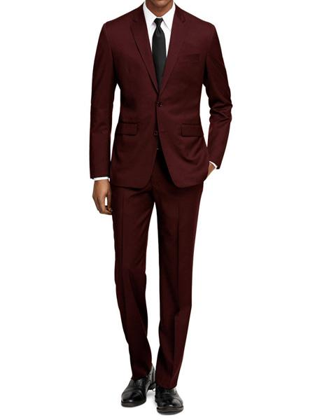 Product# JS308 Mens Slim Fit Burgundy ~ Maroon Tuxedo