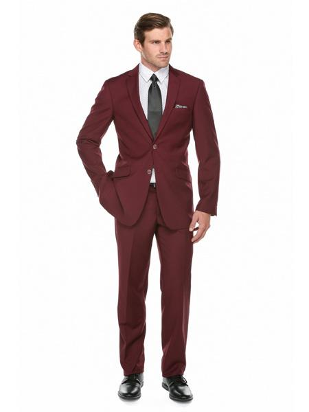 Product# JS309 Mens Slim Fit Burgundy ~ Maroon Tuxedo