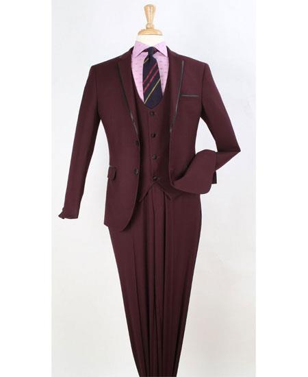 men's Two Toned And Fashion Trim Lapel Burgundy Wedding / Prom / Homecoming Tuxedo Vested 3 Pieces