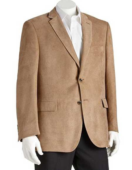 Product# JSM-1467 Men's 2 Button Microsuede Polyester Notch Lapel Double Vent Classic Fit Camel Blazer