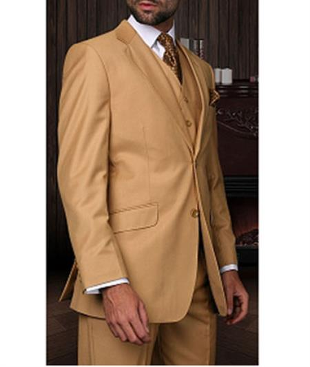 Men's Statement 2 Button Camel 3 Piece Italian Designer Suit