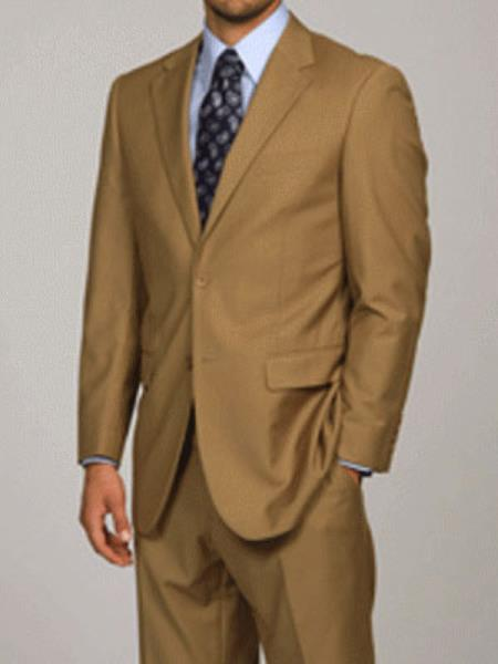 Men's Slim Fitted Euro Tapered Camel ~ Khaki ~ Bronze ~ Canary Color 2 Buttons Vested 3 P