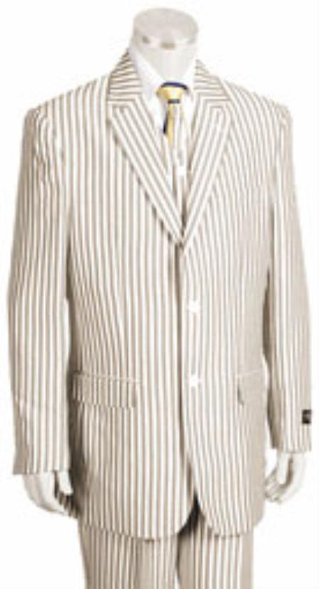 Sear Sucker Suit 2 Button Style Jacket Pleated Slacks Pants Pronounce Pinstripe Summer Cheap priced men's Seersucker Suit Sale Fabric Suits for Online for
