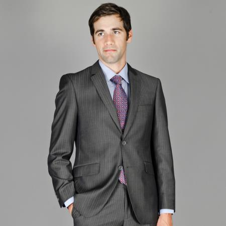 Mens Charcoal Grey Wool Suit