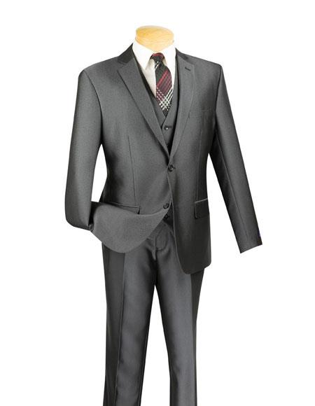 Two Button Charcoal Color Wool Suit
