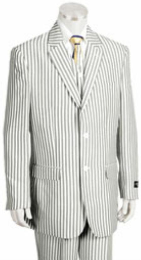 Sear Sucker Suit Seersucker Suit - Searsucker Suits 2 Button Style Jacket Pleated Slacks Pants Pronounce Pinstripe Summer Cheap priced men's Seersucker Suit Sale Fabric Suits for Online for
