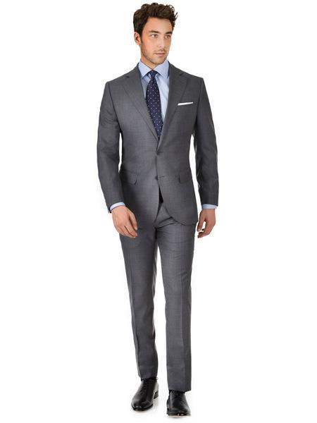 Two Button Charcoal Gray Suit