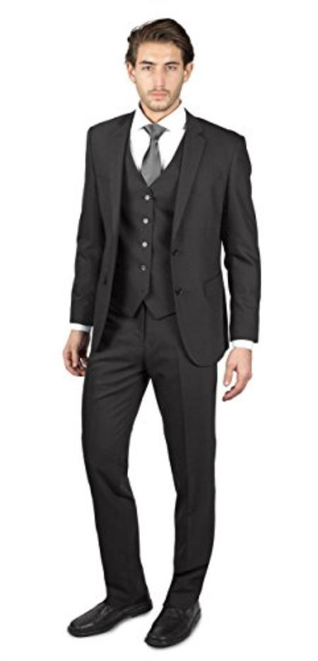 Mens 2 Button Charcoal
