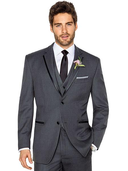 Grey Tuxedo - Gray Tuxedo Mens 2 Buttons Charcoal Grey ~ Gray Tuxedo 2 Button Style With Trim Vested