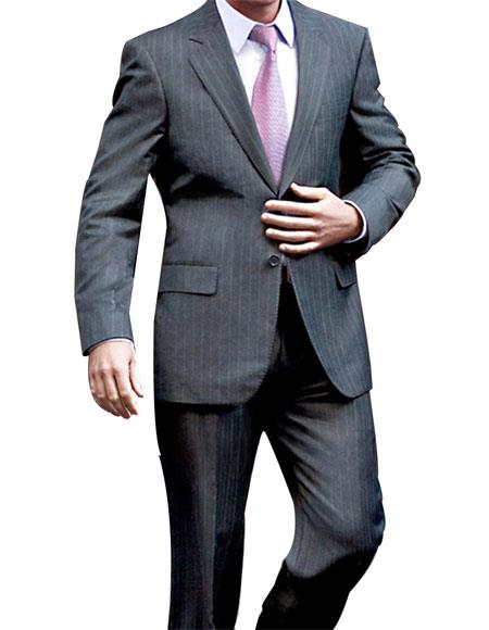 Two Button Charcoal Pinstripe Suit