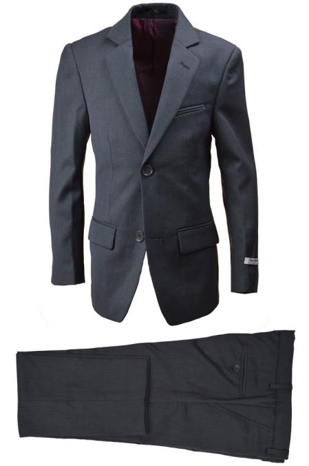 Product# SM4812 Husky Boys Wool Blend Boys And Men Suit Charcoal
