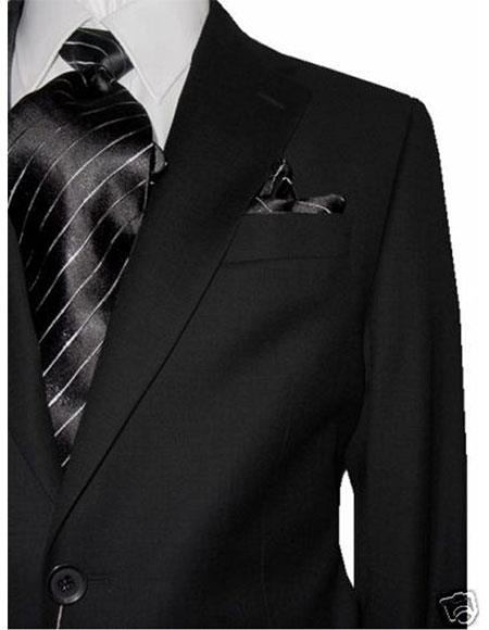 Two Buttons Charcoal Wool Suit