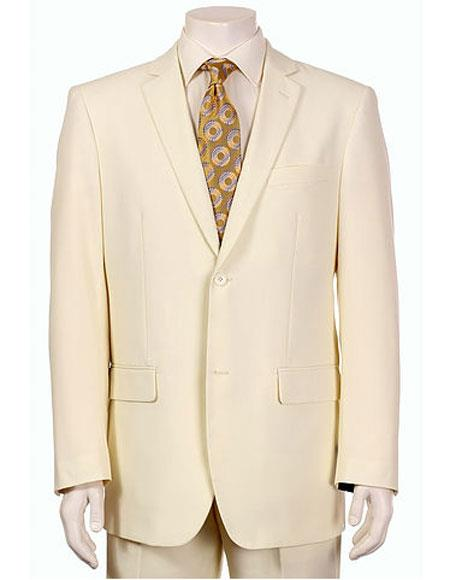 Men's Vitali Single Breasted Authentic 2 Button Cream Slim Fit Suit