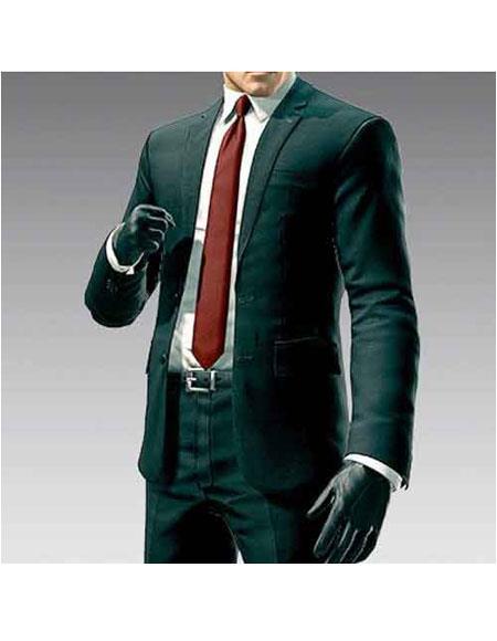 Product# GD1153 Men's Hitman Agent 47 Dark Green 2 Button Notch Lapel Suit