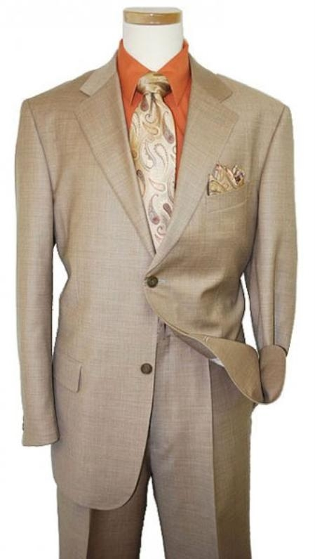 Two Button Dark Tan khaki Color ~ Beige Coffee Suit