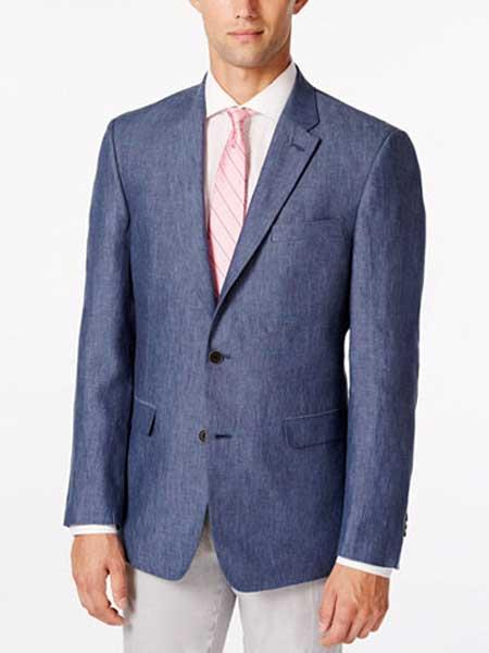 Product# JSM-316 Men's Denim 2 Button Linen Sport Coat Classic Fit Notch Lapel Blazer