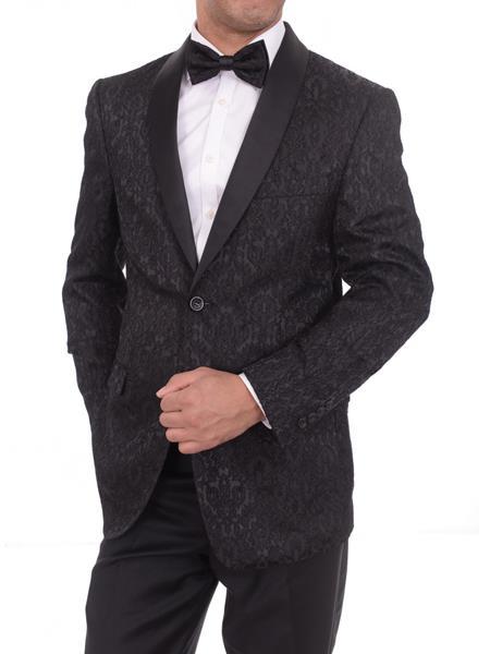 Men's 2 Button Floral Satin Shawl Lapel Black Slim Fit Blazer Sportcoat