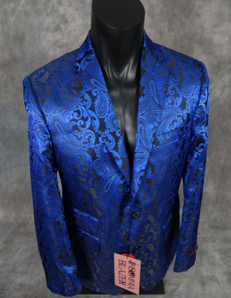Product# CH2442 mens floral paisley blue slim fit sport jacket Blazer