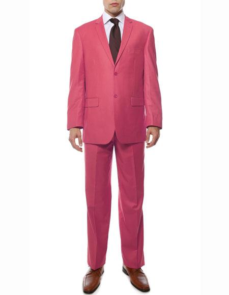 Men's 2 Button Fuchsia Regular Fit Notch Lapel Single Breasted Side Vent Pink Color Suit