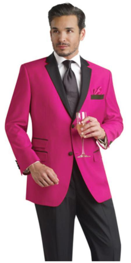 Product# FHY99 fuchsia ~ hot Pink Two Button Notch Party Suit & Tuxedo & Blazer Online Sale w/ Liquid Jet Black Lapel 7 days delivery