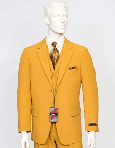 Product# JSM-2878 Men's Gold ~ Mustard ~ Yellowish CAMERON Color Suit Vested 3 Pieces Suit