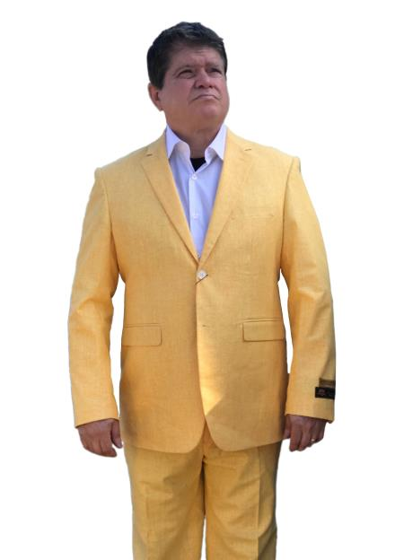 SM4435 Linen Summer Fabric Alberto Nardoni Best Mens Italian Suits Brands Yellow ~ Gold ~ Mustard Summer Fabric Side Vented Suit $165 (Buy 10PC And UP For $120)