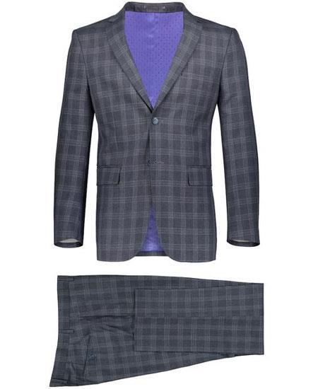 men's Slim Fit 2 Button Gray Suit Window Pane ~ Plaid Suit ~ Blazer & Pants
