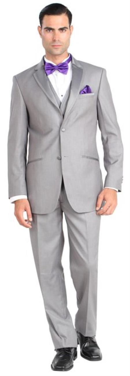 Product# BC 102 Giorgio Fiorelli Two Button Three Piece Walton Tuxedo with Vest Grey ~ Gray