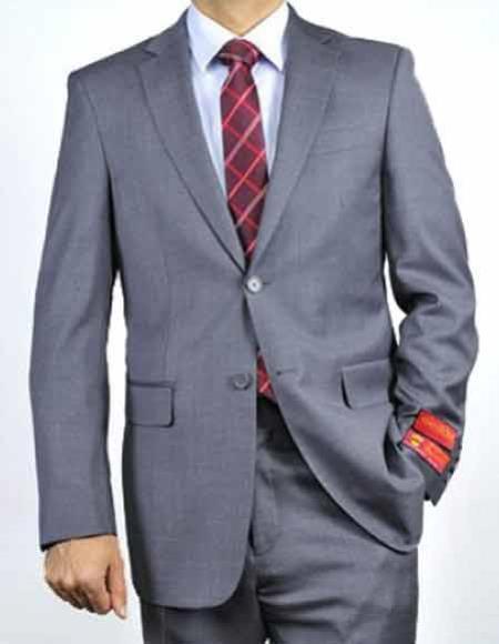 Product# JSM-1887 Men's Mantoni 2 Button Italian 100% Wool Notch Lapel Gray Solid Double Vent Suit