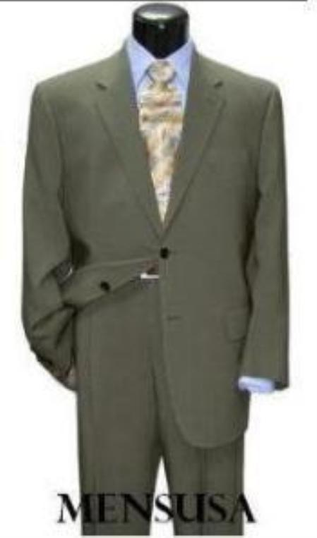 Product# CLK500 greenish with some hint of Gray Mint ~ Sage Light Green Classic Two Button Wool Fabric Suit for Men