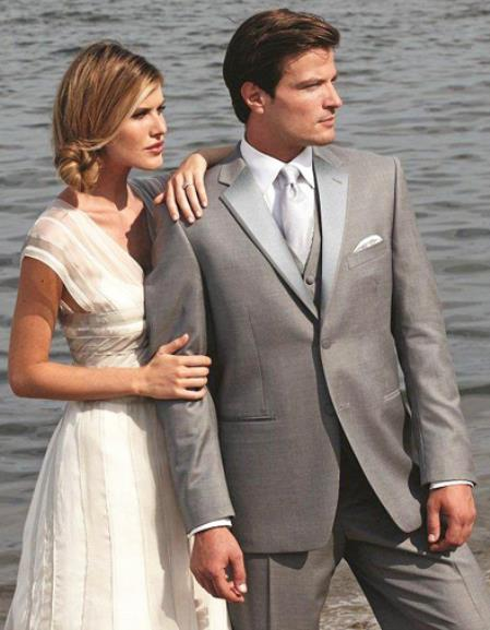Stunning Grey ~ Gray Two Button Grey Tuxedo 7 days delivery