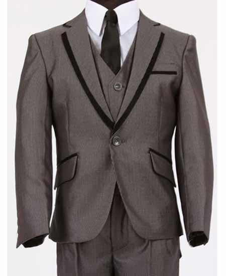 Product# JSM-612 Men's Two Toned Trimmed Notch Lapel Vested Dark Grey Tuxedo Sharkskin Looking
