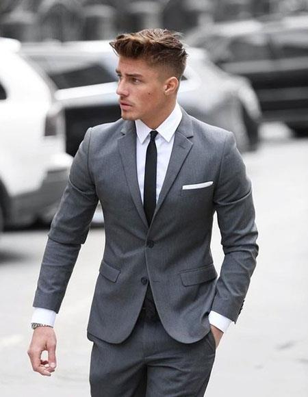 Mens grey suit black