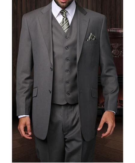 Two Button Grey Vested Suit