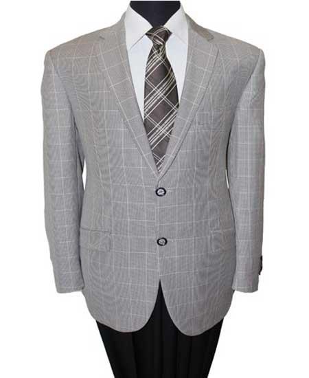 men's 2 Button Wool Notch Grey Lapel Windowpane Single Breasted Sport Coat Blazer