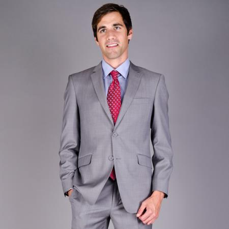 Product# SXPU7 Mantoni Slim narrow Style Fit Light Grey Sharkskin 2-Button Wool Fabric Suit