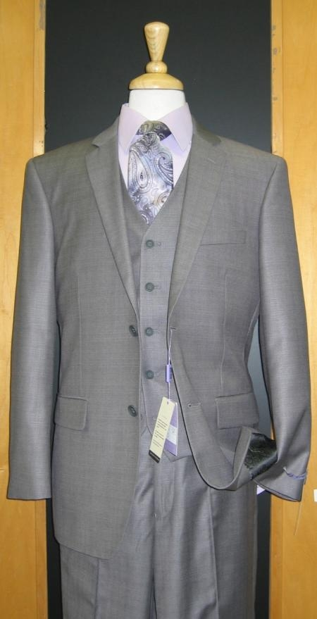 Product# ET533 Two Button Three Piece Grey Sharkskin Wool Fabric Blend Flat Front three piece suit