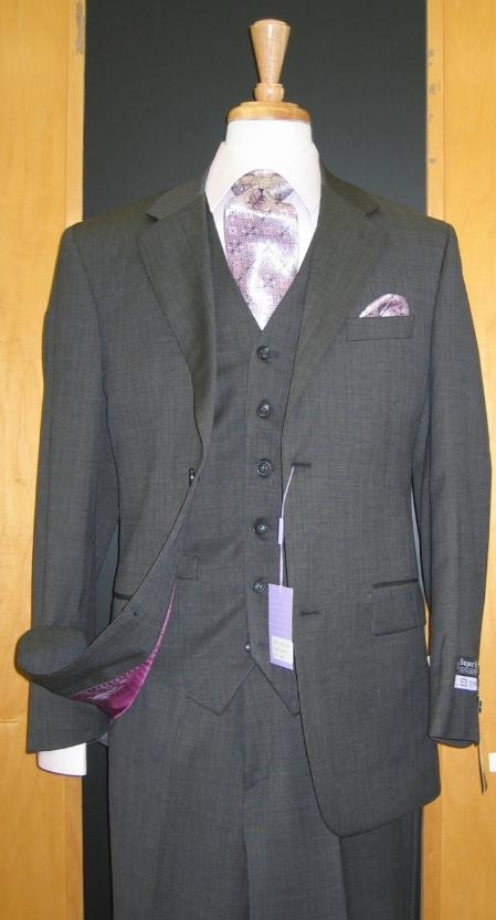 Product# DF331 Two Button Three Piece Dark Grey Wool Fabric and Cashmere Flat Front three piece suit