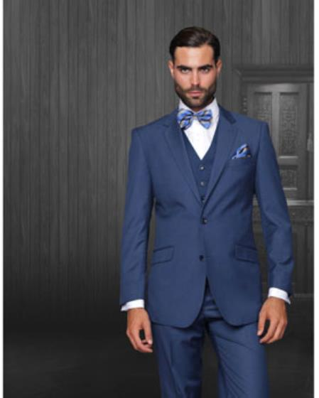 Men's Statement 2 Button Indigo Blue Modern Fit Wool Suit
