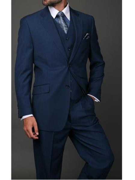 Men's Statement 3 Piece 2 Button Italian Designer Indigo Suit